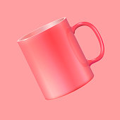 Tea cup hanging in the air. Realistic vector 3d illustration. Living Coral color 2019