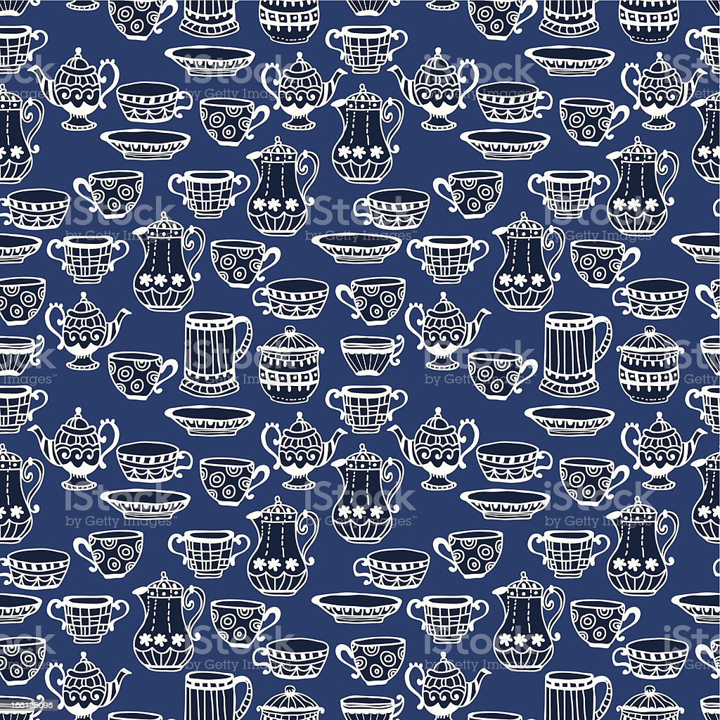 Tea cup seamless background royalty-free stock vector art