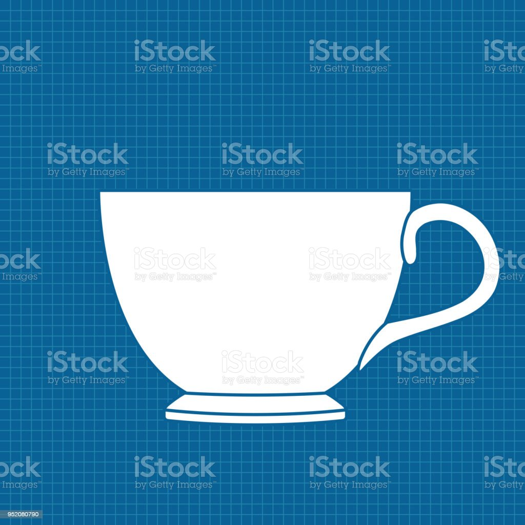 Tea cup white outline icon on blueprint background stock vector art cafe cup mug tea cup ukraine malvernweather Images