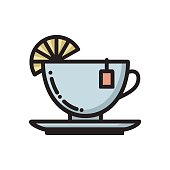 Tea cup with slice of lemon and teabag label icon