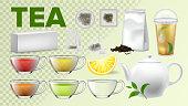 Tea Cups And Pot Kitchenware Vector Realistic Set
