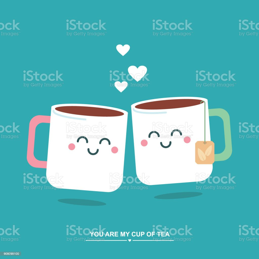 Tea Cups In Love Cute Valentines Day Vector Illustration Greetings