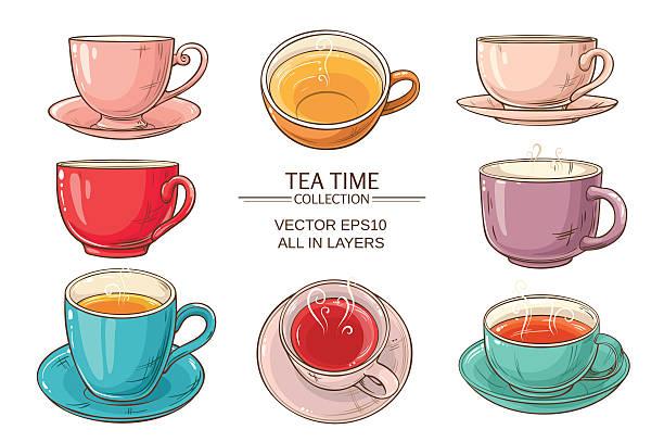 stockillustraties, clipart, cartoons en iconen met tea cups set color - theekop