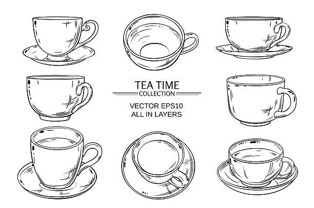 stockillustraties, clipart, cartoons en iconen met tea cups set - theekop