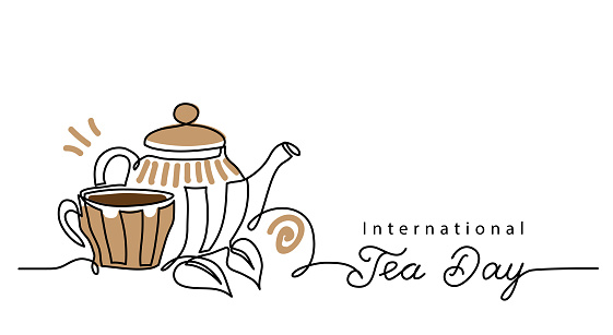 Tea day vector background with teacup and kettle. One line drawing art illustration,border, banner with lettering international tea day.