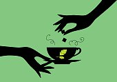 Tea design over green background. Vector illustration