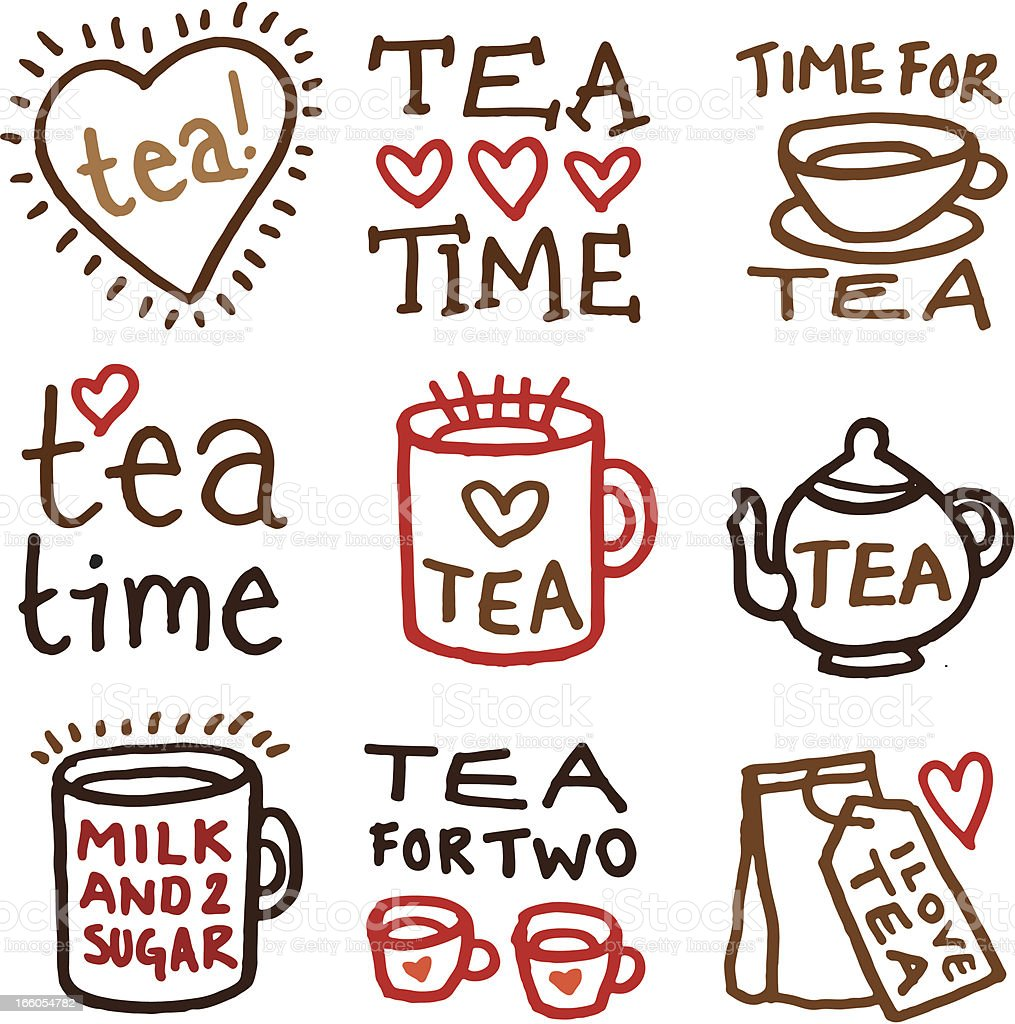 Tea doodle icon set royalty-free stock vector art