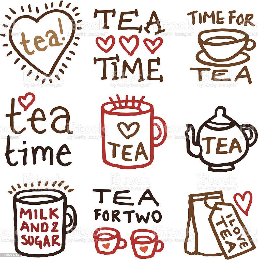 Tee doodle icon-set – Vektorgrafik