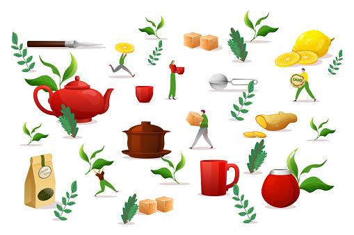 Tea drink object set elements, vector illustration. Morning making liquid in large cup, green leaf, brown sugar, lemon and ginger