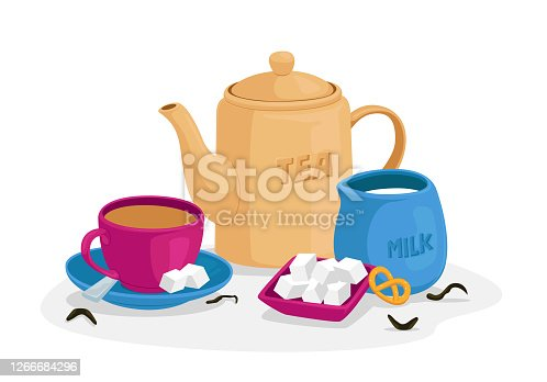 Tea Drinking Concept with Cup of Tea, Sugar Cubes and Spoon on Saucer, Jug with Milk, Sweet Bakery and Teapot Isolated