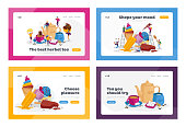 Tea Drinking, Ice Cream Treat Landing Page Template Set. Tiny Characters at Huge Teapot, Cup with Beverage and Milk. People Eating Various Icecream Dessert at Hot Season. Cartoon Vector Illustration