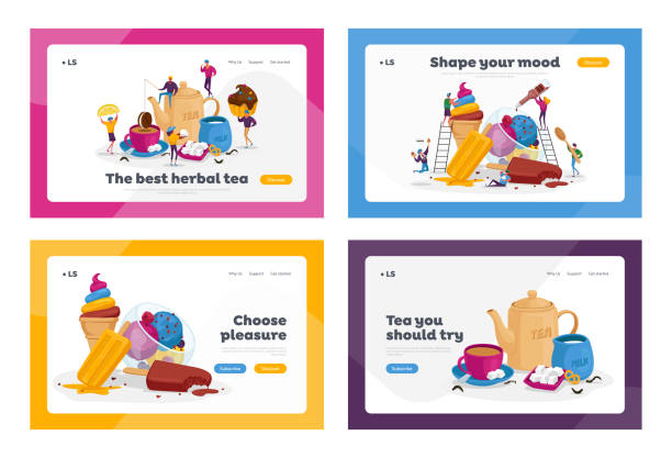 Tea Drinking, Ice Cream Treat Landing Page Template Set. Tiny Characters at Huge Teapot, Cup with Beverage and Milk Tea Drinking, Ice Cream Treat Landing Page Template Set. Tiny Characters at Huge Teapot, Cup with Beverage and Milk. People Eating Various Icecream Dessert at Hot Season. Cartoon Vector Illustration bowl of ice cream stock illustrations