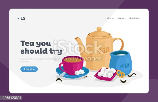 istock Tea Drinking Landing Page Template. Cup of Tea, Sugar and Spoon on Saucer, Jug with Milk, Bakery and Teapot. Hot Drink 1268120321