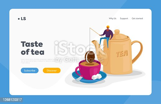 istock Tea Drinking Landing Page Template. Tiny Character Sit on Huge Teapot Put Chocolate Cookie on Rod at Huge Cup with Tea 1268120317