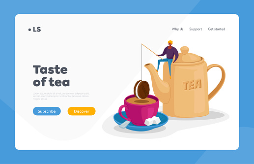Tea Drinking Landing Page Template. Tiny Character Sit on Huge Teapot Put Chocolate Cookie on Rod at Huge Cup with Tea