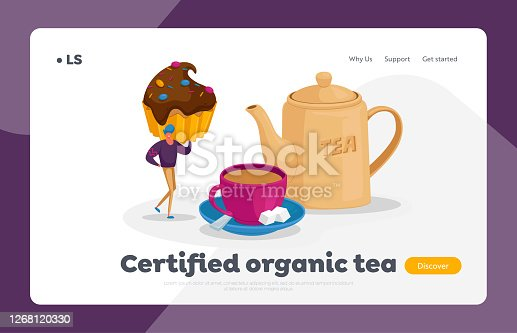 Tea Drinking Landing Page Template. Tiny Man Character Hold Cupcake with Chocolate and Sprinkles at Huge Cup with Tea
