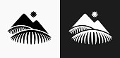 istock Tea Farms Icon on Black and White Vector Backgrounds 832254660