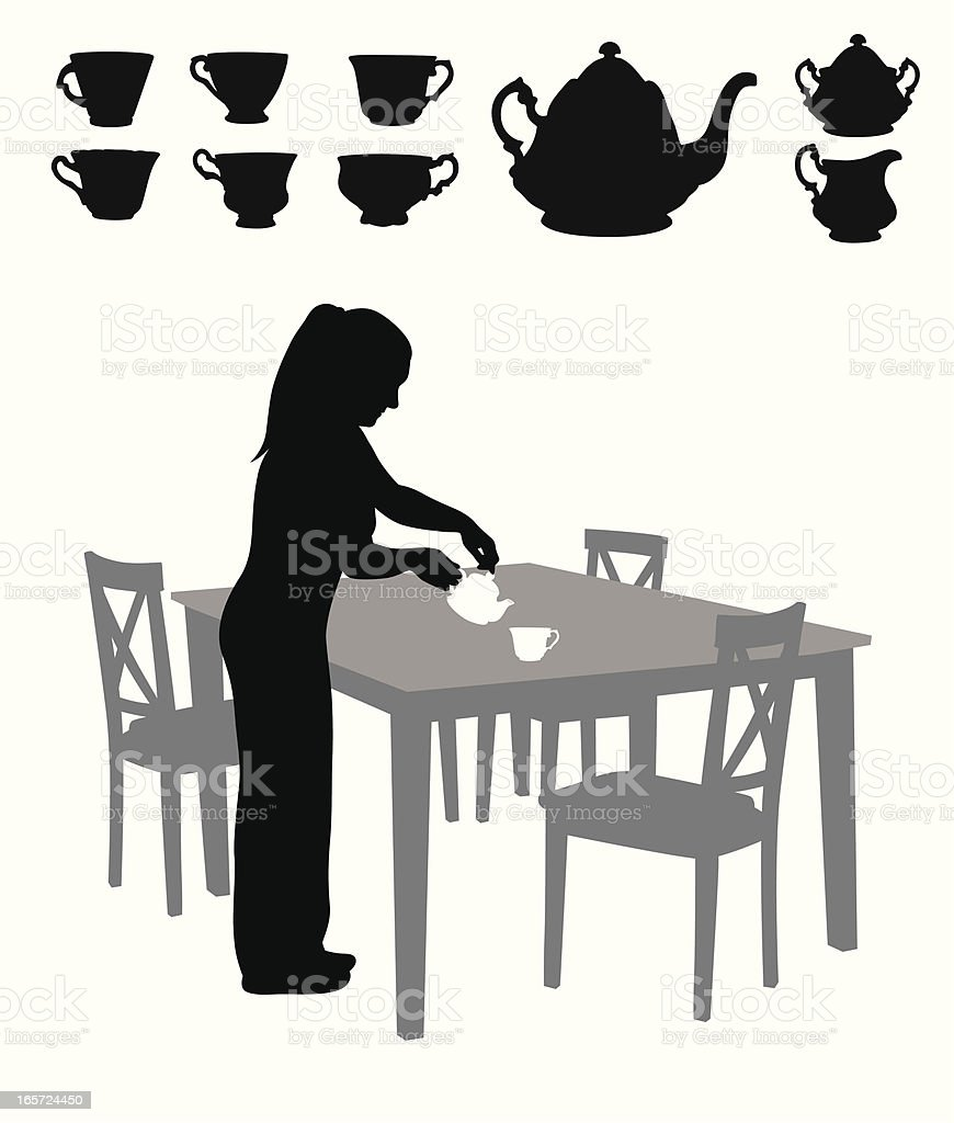 Tea For One Vector Silhouette royalty-free stock vector art
