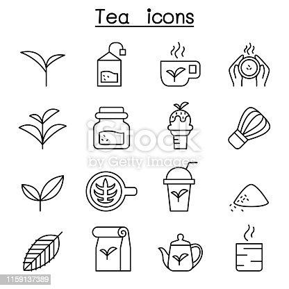 Tea icon set in thin line style