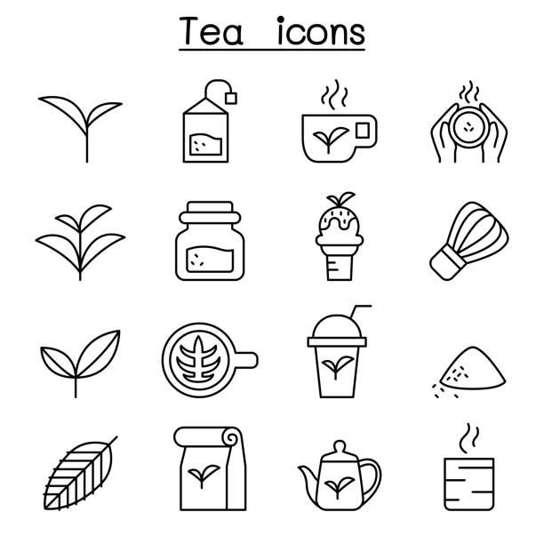 Tea icon set in thin line style Tea icon set in thin line style tea crop stock illustrations