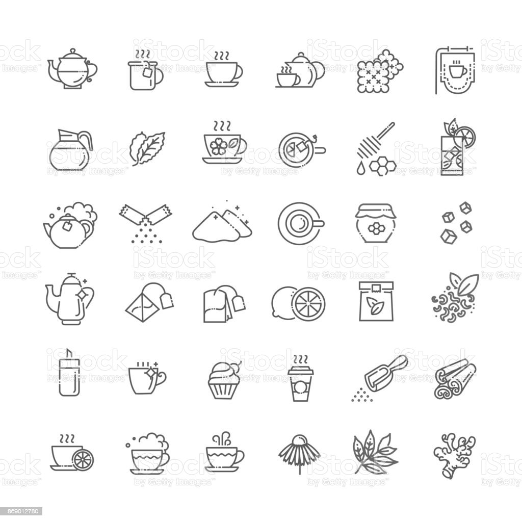 Tea icon set. Thin line vector illustration royalty-free tea icon set thin line vector illustration stock illustration - download image now