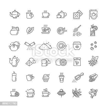 Green and herbal tea icon on white background