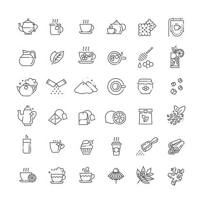 Tea Icon Set Thin Line Vector Illustration - Immagini vettoriali stock e altre immagini di Bevanda calda