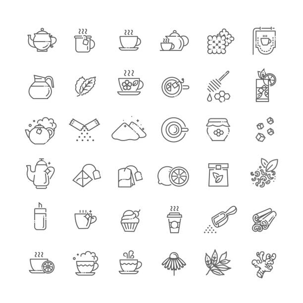 Tea icon set. Thin line vector illustration Green and herbal tea icon on white background cafe stock illustrations