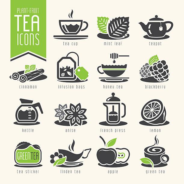 illustrazioni stock, clip art, cartoni animati e icone di tendenza di icona set da tè - camellia sinensis