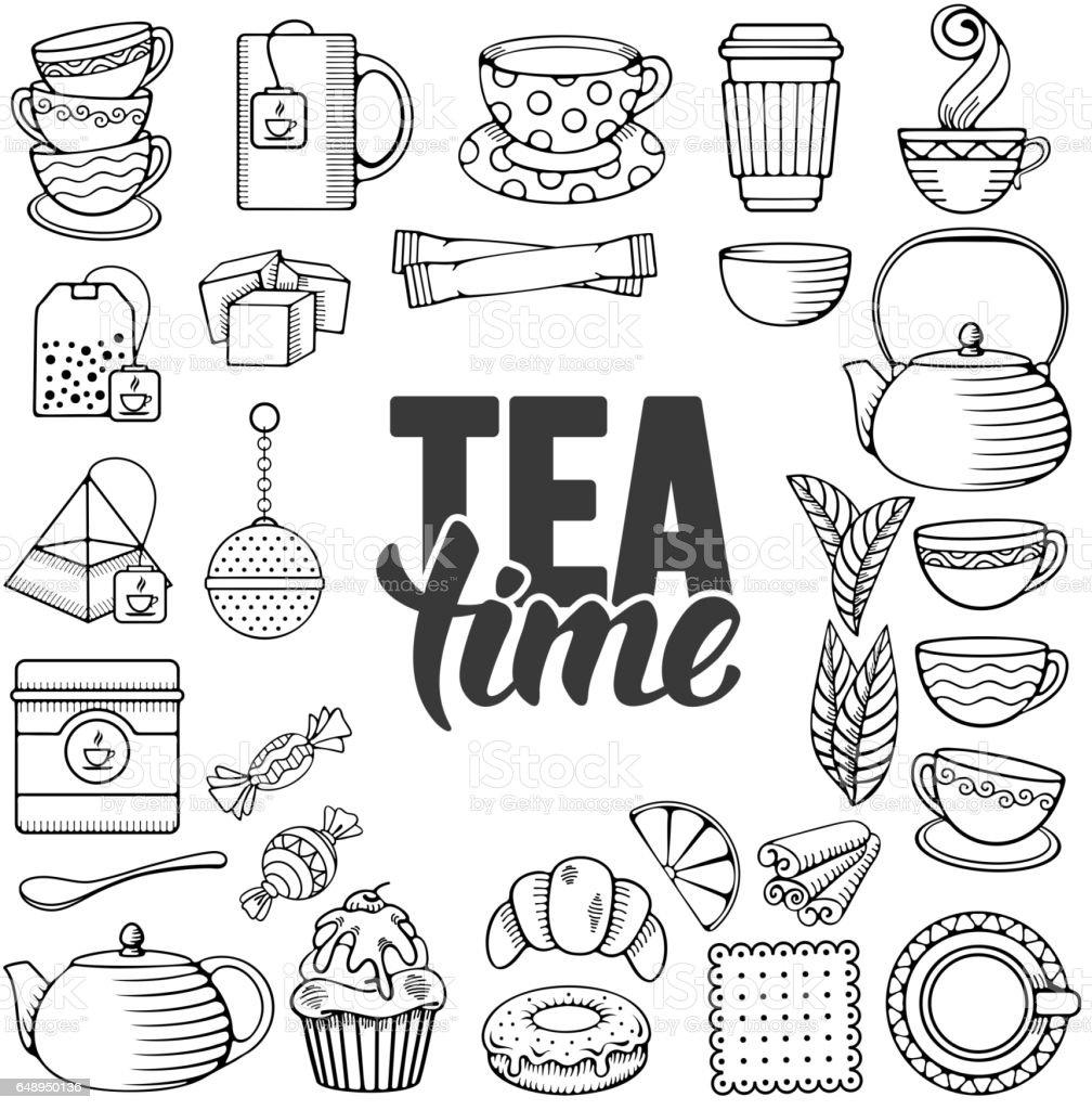 Tea icon set vector art illustration