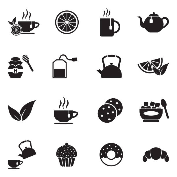 Tea Icons. Black Flat Design. Vector Illustration. Tea Crop, Cup, Lemon - Fruit, Tea Cup, Beverage teapot stock illustrations