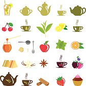 A collection of vector design elements on tea thematic.