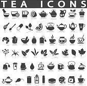 Tea icons on a white background with a shadow