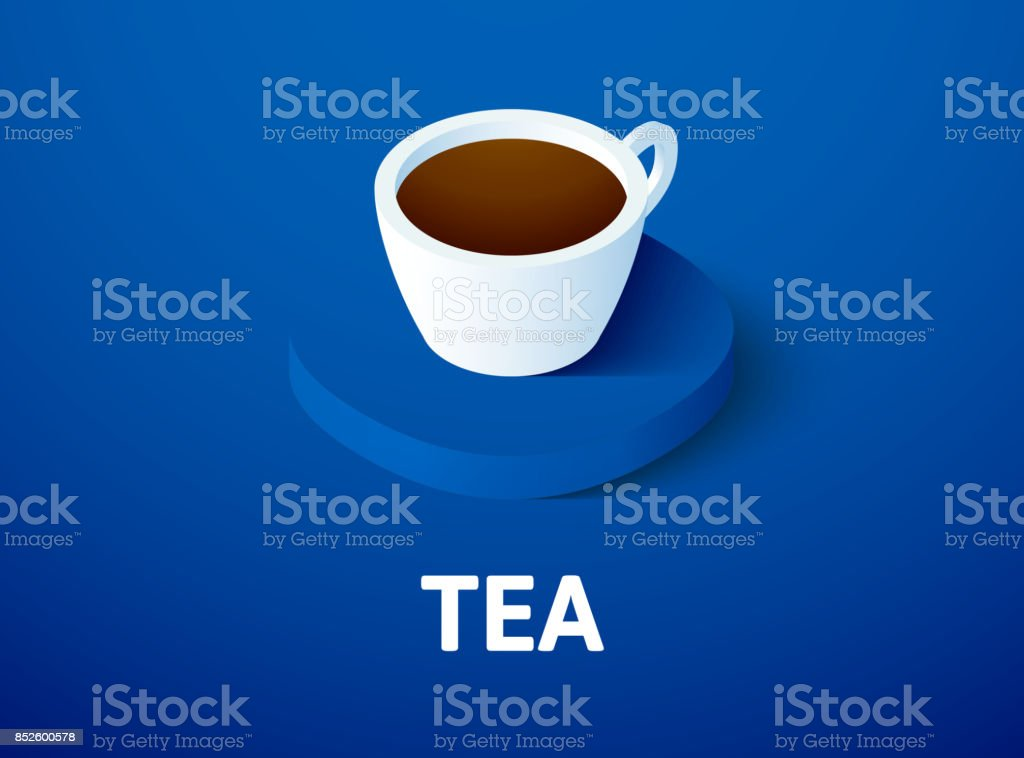 Tea isometric icon, isolated on color background vector art illustration