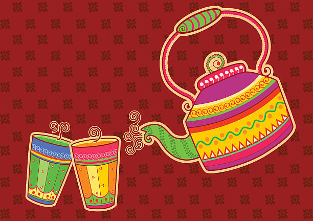 tea kettle and glass in indian art style - indisches essen stock-grafiken, -clipart, -cartoons und -symbole