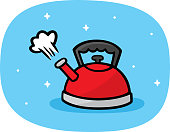 Vector illustration of a hand drawn red tea kettle against a light blue background.