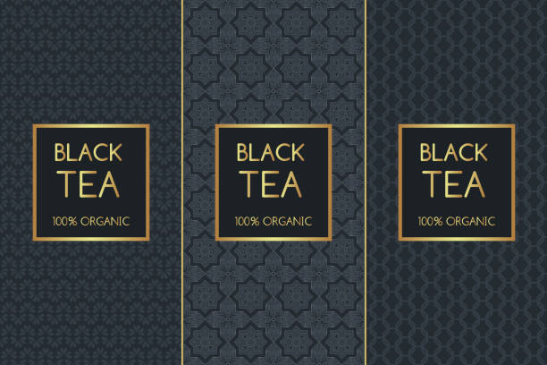 illustrazioni stock, clip art, cartoni animati e icone di tendenza di tea package set template vector - gelato confezionato