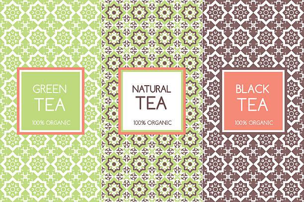 illustrazioni stock, clip art, cartoni animati e icone di tendenza di tea packaging templates vector - camellia sinensis