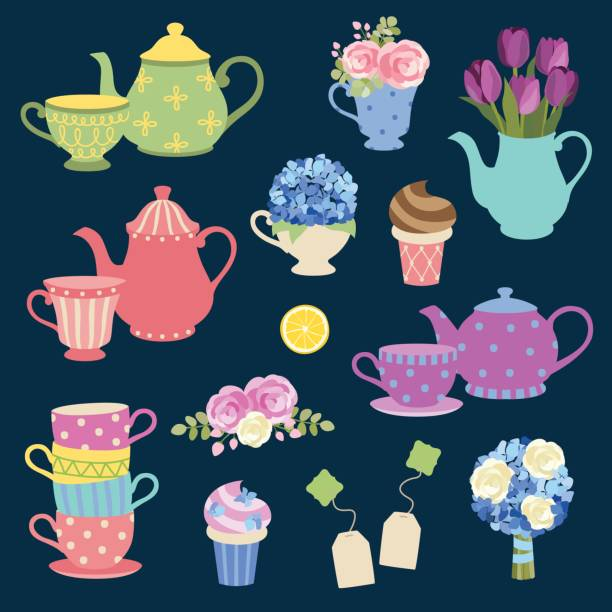Tea Party And Flower Set Vector illustration of tea party graphic elements with matching teapot and teacup and flower set. teapot stock illustrations