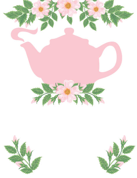 Tea Party and Wild Roses Backgorund Tea Party and Wild Roses Backgorund teapot stock illustrations