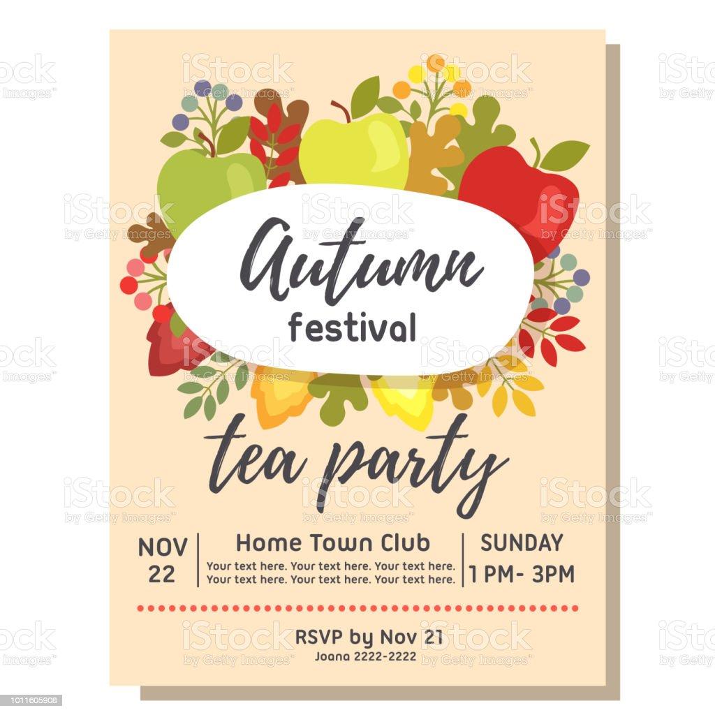 Tea Party Autumn Invitation Card With Apple Flat Style Stock Vector