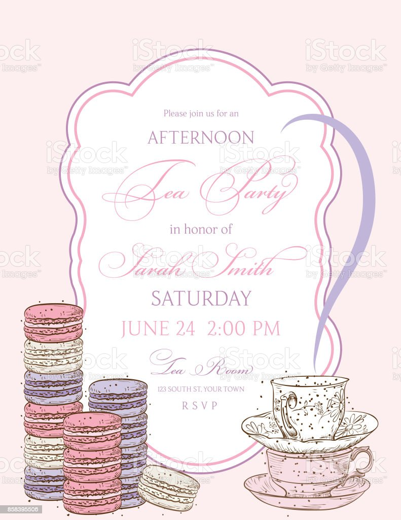 Tea Party Background With A Frame For Text vector art illustration