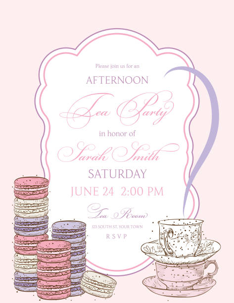 tea party background with a frame for text - bachelorette party stock illustrations, clip art, cartoons, & icons