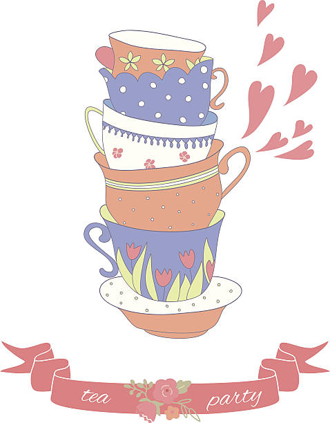 tea party card with a stack of cute colorful cups - stacked tea cups stock illustrations, clip art, cartoons, & icons