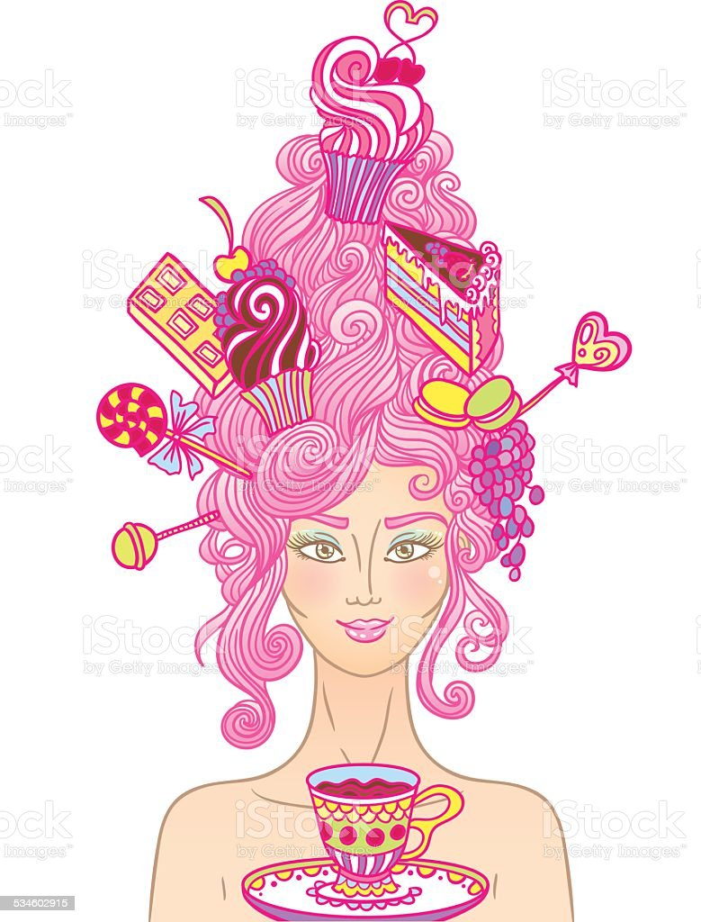 Tea party girl vector art illustration