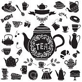 Tea party hand drawn icons black silhouettes set. Cups, mugs, teacups, teapots, coffee pot,  saucer, spoon, demitasse, leafs, fruits cherry, strawberry, bagel, tea bag, cakes, croissant, pie, candy, baking isolated on white background, logo design - vector artwork