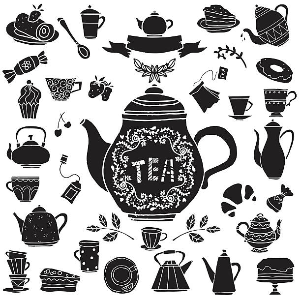 Tea party hand drawn icons black silhouettes set Tea party hand drawn icons black silhouettes set. Cups, mugs, teacups, teapots, coffee pot,  saucer, spoon, demitasse, leafs, fruits cherry, strawberry, bagel, tea bag, cakes, croissant, pie, candy, baking isolated on white background, logo design - vector artwork teapot stock illustrations