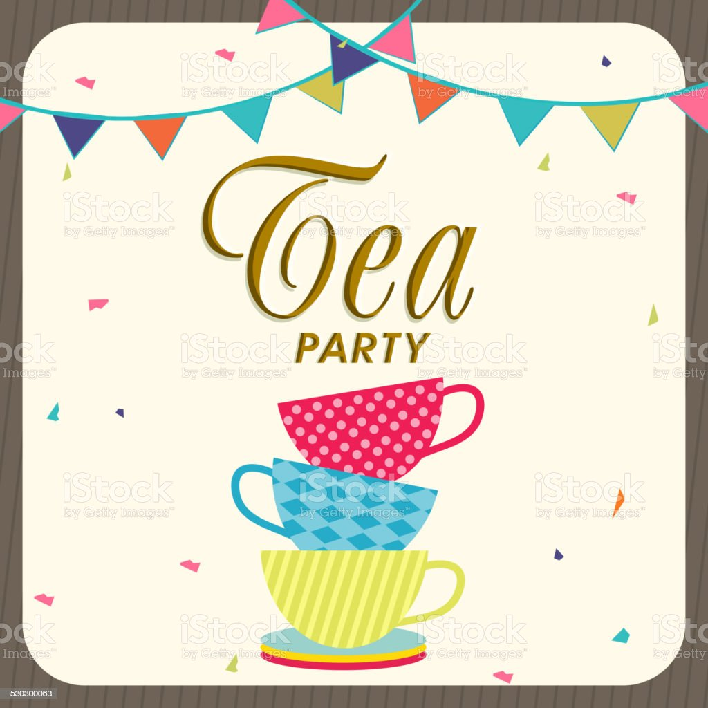 Tea Party Invitation Card Design Stock Vector Art & More Images of ...