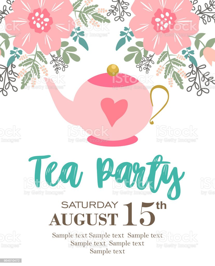 Tea Party Invitation Card Stock Vector Art More Images Of Adult