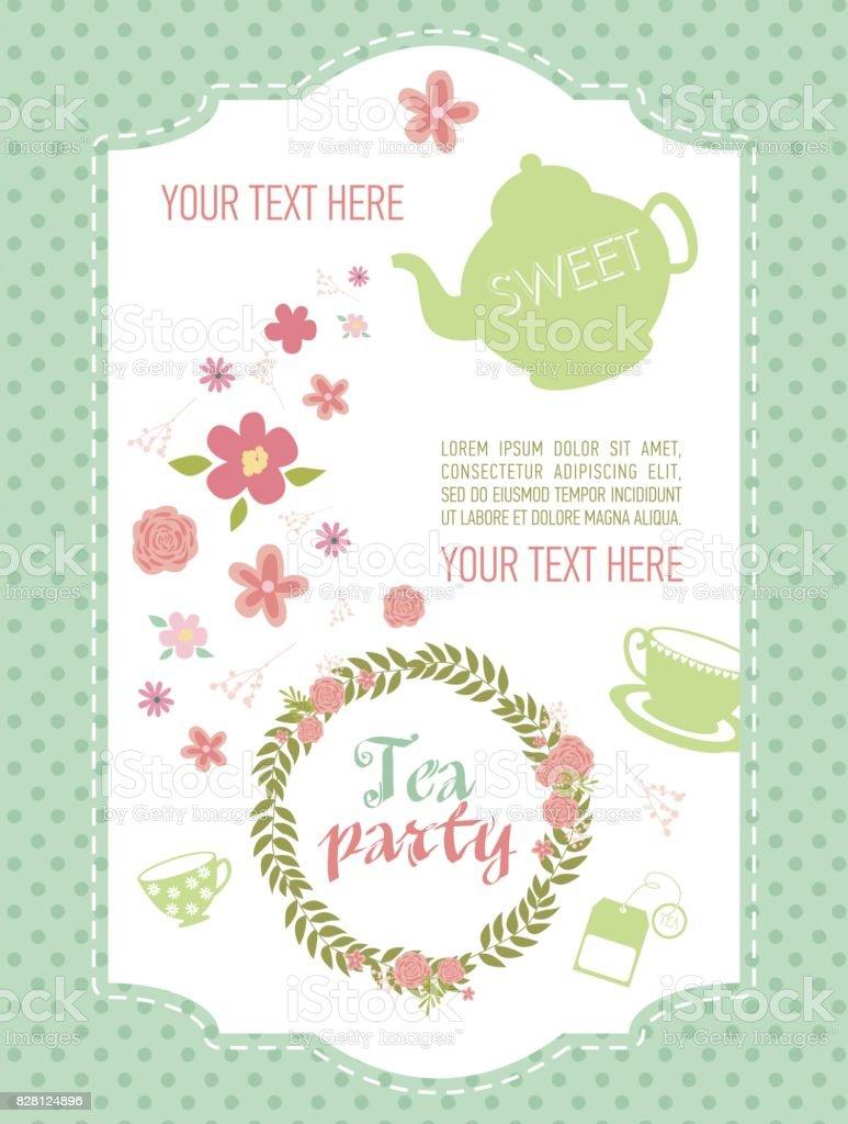 Tea Party Invitation Card Vector Illustration Stock Vector Art
